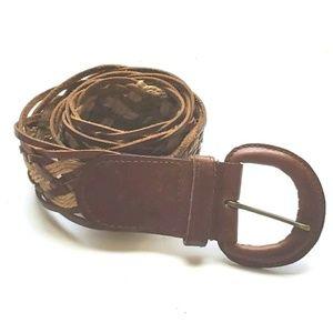 Aldo Full Grain Leather Cotton Belt Braided Brown